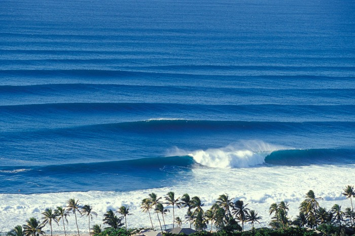 overview of waves at Rockpiles, north shore, Oahu, Hawaii