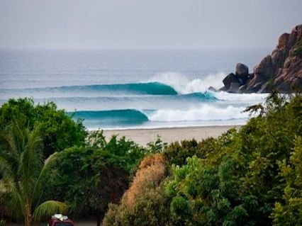Perfect surf line up in Southern Mexico. Transform your home or office with this exotic ocean wave art.